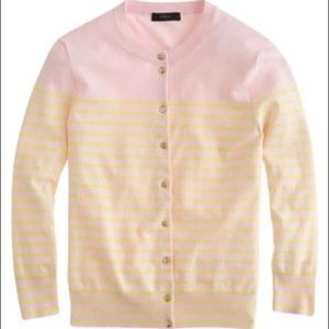 J. Crew sunwashed pink and citrus cardigan, XL